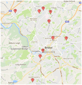 Bristol Map showing locations of focus groups