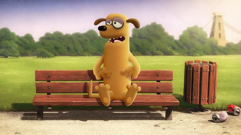 BAB animation - dog on a bench
